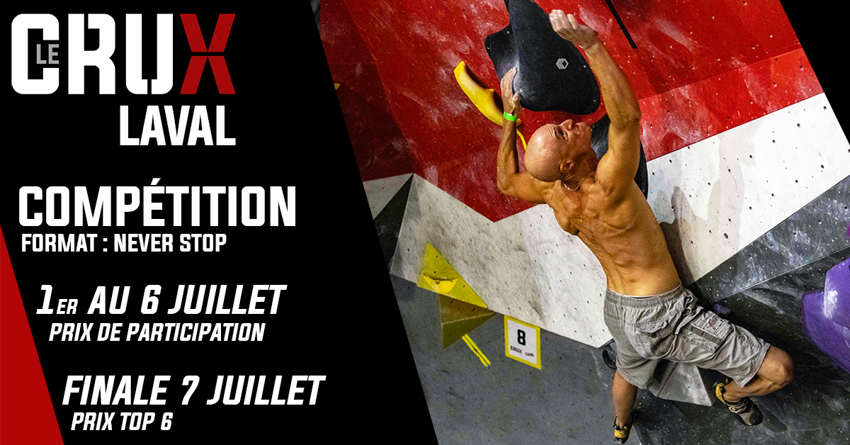 Upcoming events at the bouldering and climbing center - Laval, Boisbriand